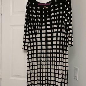 Tahari black and white dress